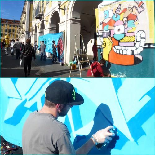 Téléthon 2013 Nice, graffeurs, art graffiti, graf