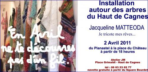 jacqueline matteoda, en avril ne te découvre pas d'un fil, installation land art haut de cagnes,