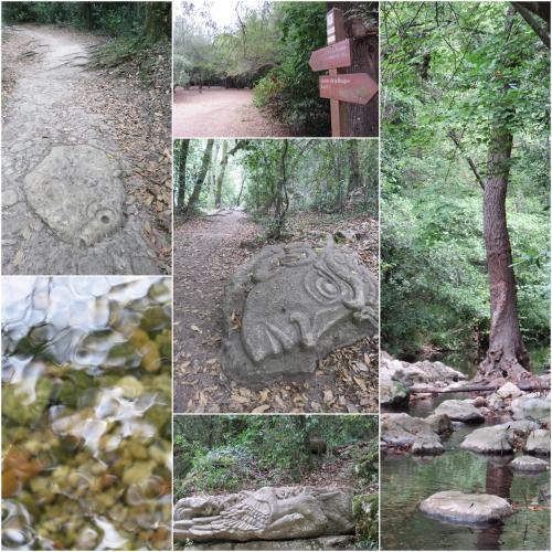 Biot, la brague à sec, sculptures sur le chemin