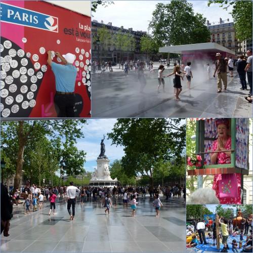 Paris, place de la république, le mur de Gainsbourg, les jardins du Luxembourg