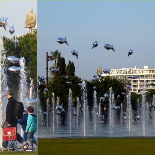 Poisson d'avril, Nice, paillon d'avril, miroir d'eau, banc de sardines, cie aérosculpture marseille