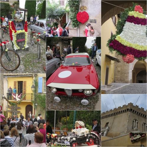 Tradition du mai, haut de cagnes, oeillets, créations florales