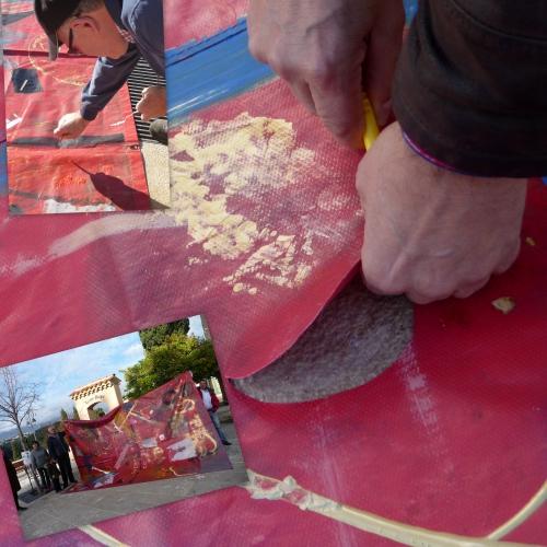 gen cardona, haut de cagnes, peinture sur bâches, bâche rouge